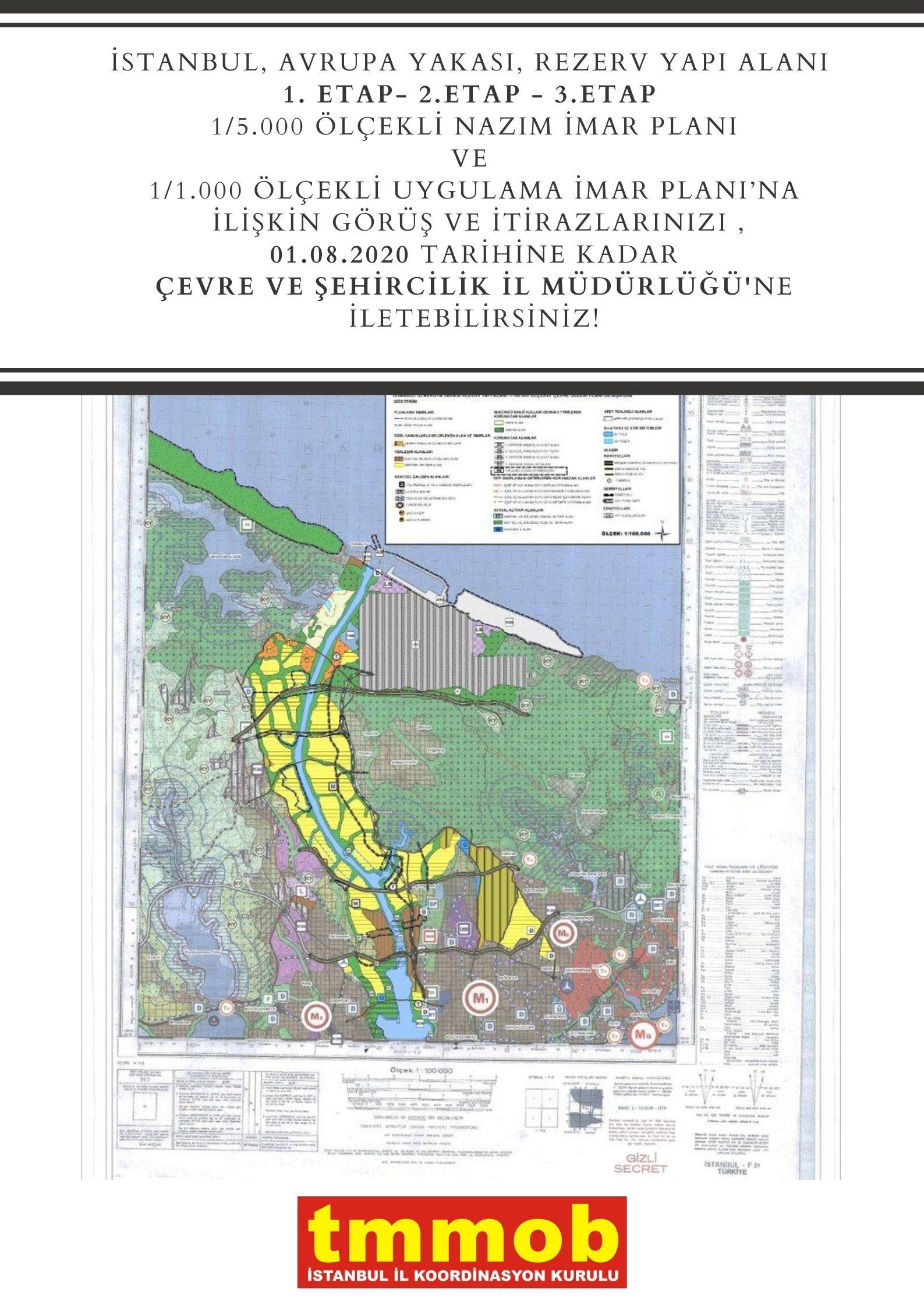 İstanbul, Avrupa Yakası, Rezerv Yapı Alanı 1. Etap- 2.etap - 3.etap 1/5.000 ölçekli Nazım İmar Planı ve 1/1.000 Ölçekli Uygulama İmar Planı'na ilişkin itiraz dilekçeleri