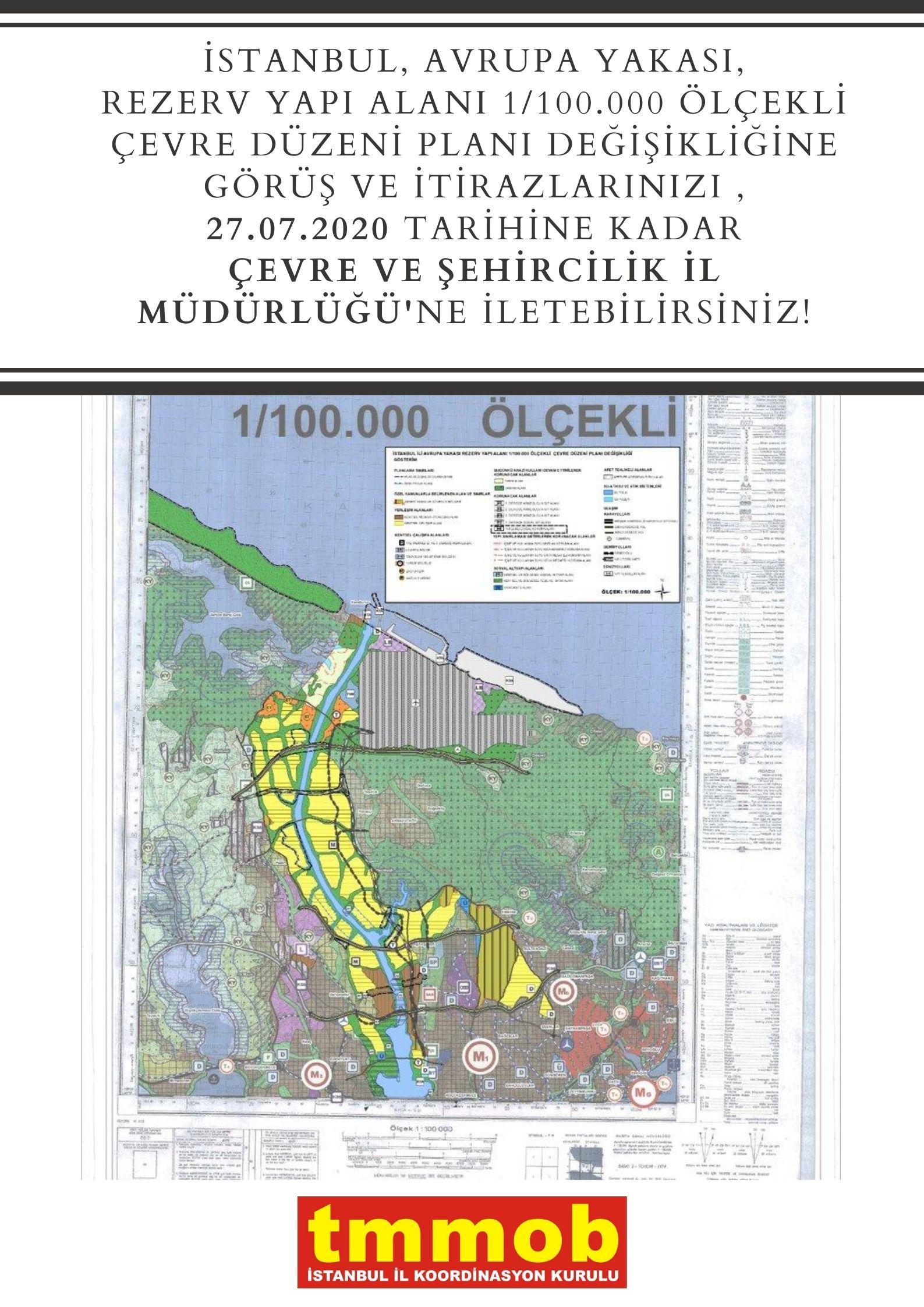 İstanbul, Avrupa Yakası, Rezerv Yapı Alanı 1/100.000 ölçekli Çevre Düzeni Planı Değişikliği İtiraz Dilekçesi